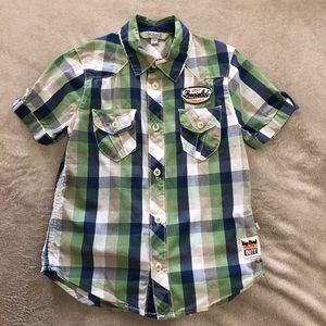 KANZ PLAID S/S DOUBLE POCKET BUTTON DOWN SHIRT 3Y